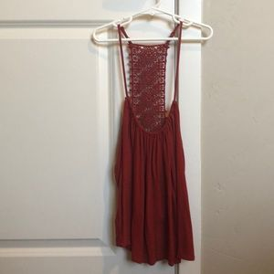 Red lace back tank top